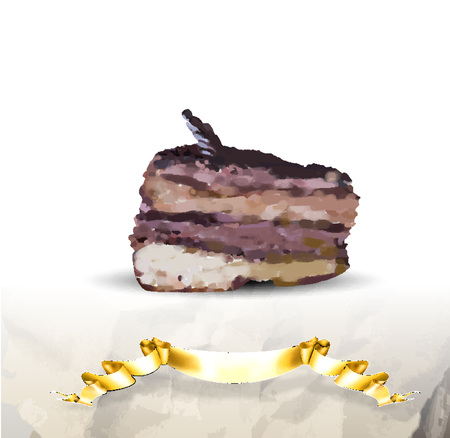 chocolate truffle: chocolate truffle cake vector piece on a white background