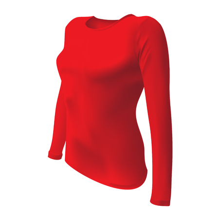 long sleeves: red T-shirt with long sleeves women vector