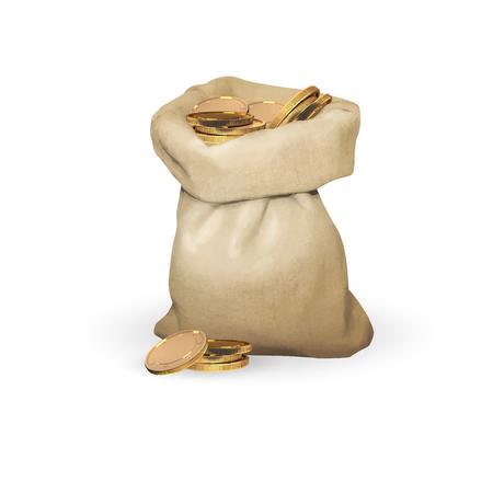 deposit slips: bag of gold coins money vector Illustration