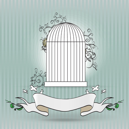 birdcage: vintage birdcage with ribbon for text vector