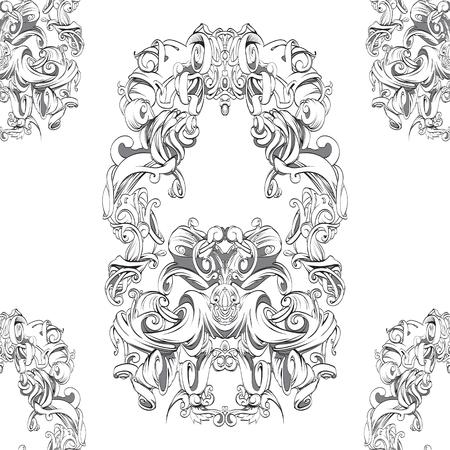 dessin des éléments baroques de cadre vintage main pour la publicité dans le style vintage, ornement, pour encadrer le logo ou texte liste déroulante Noir et blanc