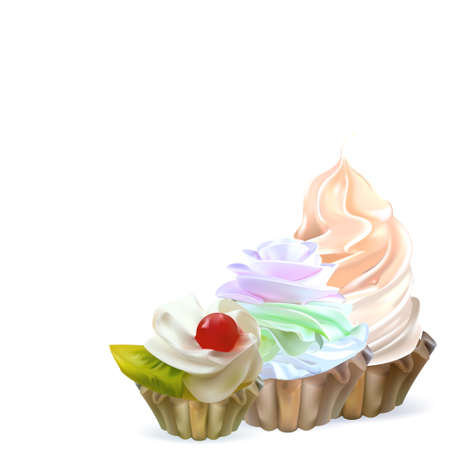 ingestion: illustration isolated cake basket with cream, vector Illustration