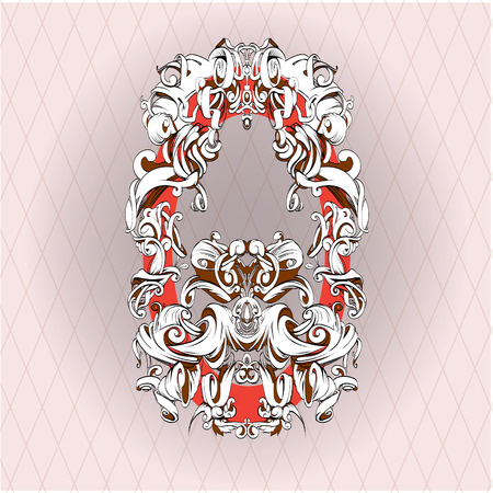 scrolling: drawing hand vintage frame baroque elements for advertising in vintage style, vector ornament, to frame the text scrolling list Black and white