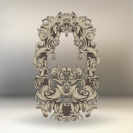 tekening de hand vintage frame barokke elementen voor reclame in vintage stijl, vector ornament, aan het frame van de logo of tekst scrollen lijst Black and white Stock Illustratie