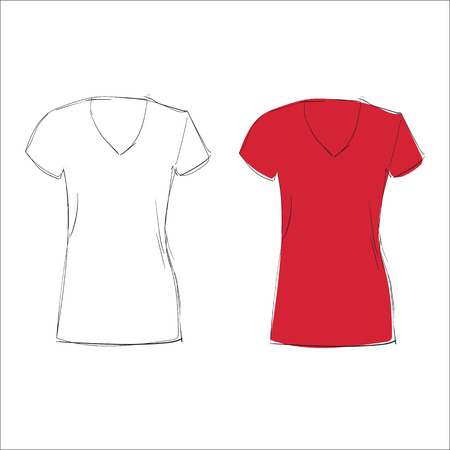 sleeved: Blank t-shirt template. vector