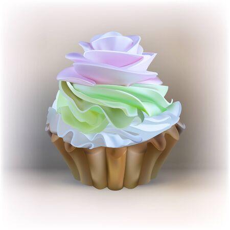 ingestion: illustration isolated cake basket with cream, vector Illustration