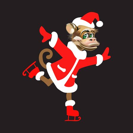 monkey suit: a monkey in a suit of Santa Claus skating isolated new year vector