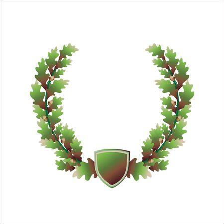 oak wreath: oak wreath, acorns, coat of arms, vintage template frame for logo