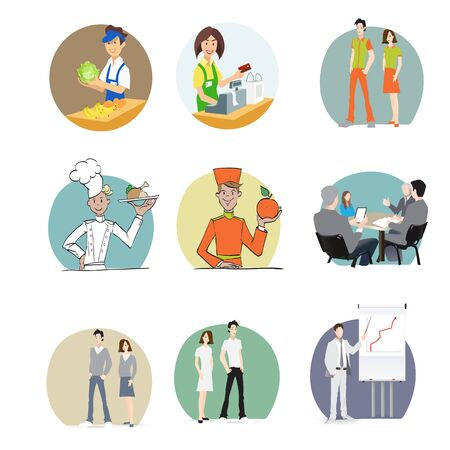 machinist: male and female employees in the office, creative people, the staff, the staff, the clothes, cook the seller, cashier, waiter, manager, administrator, business manager, secretary, profession, vector Illustration