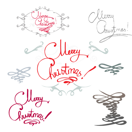 colored background: elements for design greeting card with snowflakes, fir branches, bow frame, card, isolated vector