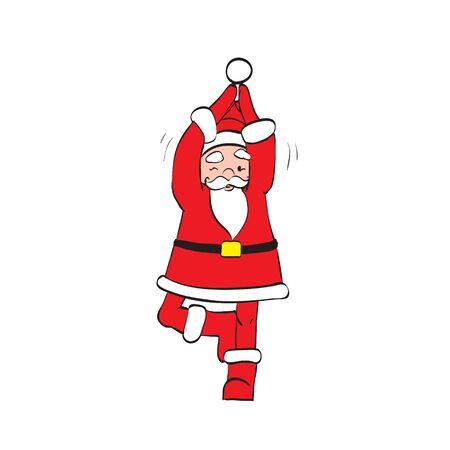 zen vector: Father Christmas Santa Claus doing yoga, Zen vector