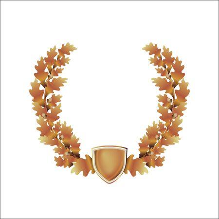 oak wreath: oak wreath, acorns, coat of arms, vintage template frame for icon