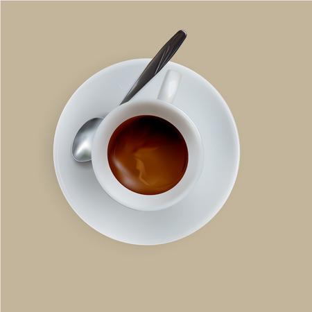 espresso: vector cup of espresso coffee, top view, saucer, spoon Illustration