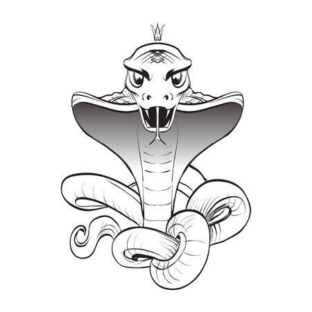 bared teeth: cobra snake bared teeth template vector attack