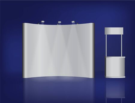 exhibition: Trade exhibition stand vector isolated