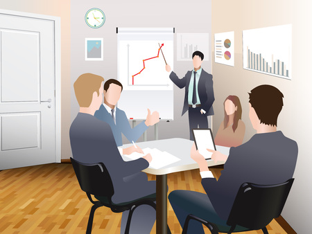 sales meeting: Businessmen discuss sales growth in the office chart Businessman shows on board plot sruppa employees at work, flet, vector office workers to discuss at the meeting, isolated, office interior