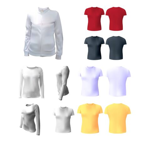 photorealism: White womens T-shirt to advertise, sweatshirt, white, isolated, jacket with a zip to the application of the icon, 3d vector illustration