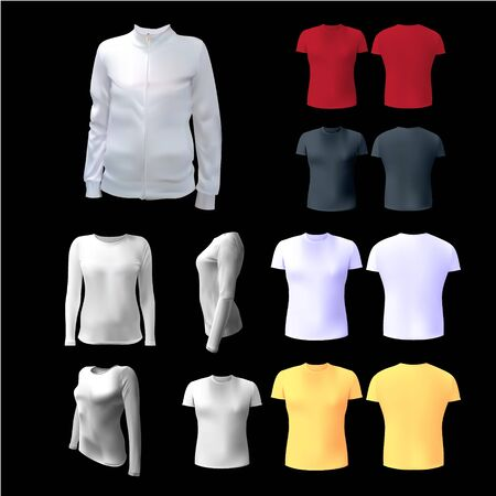 apparel part: White womens T-shirt to advertise, sweatshirt, white, isolated, jacket with a zip to the application of the logo, 3d vector illustration Illustration
