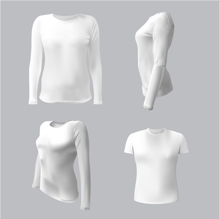 long sleeves: white T-shirt with long sleeves women vector, isolated on white background