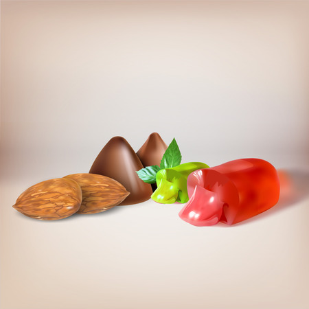 jellybean: candy, stuffed with mint, liquid filling, sucking candy, cut, icon, vector object isolated, lollipop, chocolate truffles, almonds set Illustration