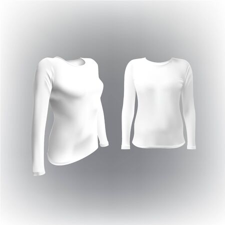 long sleeved: white T-shirt with long sleeves women vector, isolated on white background