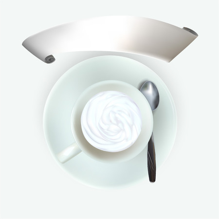 nutmeg: cup of espresso coffee, top view, saucer, spoon, cappuccino under the Vienna, cinnamon nutmeg, cocoa, grated chocolate