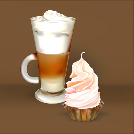 cappuccino cup: tall glass cup of cappuccino with whipped cream made layers, isolated illustrations, latte, cakes and pastries Illustration