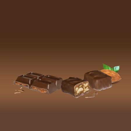 chocolate truffle: chocolate bar cinnamon inside stuffing, icon, isolated vector object, almond truffle chocolate