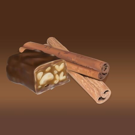 photo realism: chocolate bar cinnamon inside stuffing, icon, isolated vector object, almond truffle chocolate