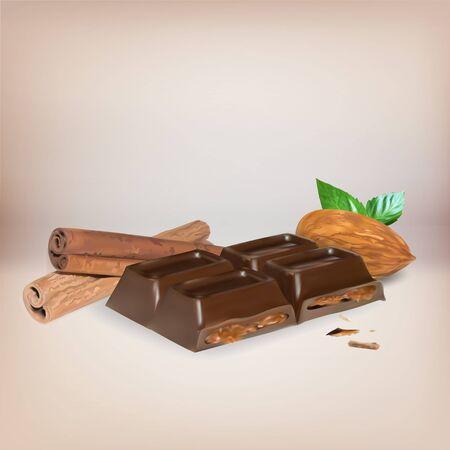 chocolate caliente: barra de chocolate de canela dentro de relleno, icono, aislado objeto vectorial, trufa de chocolate con almendras
