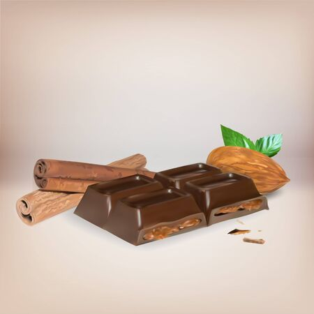 chocoladereep kaneel binnen stuffing, pictogram, geïsoleerde vector object, amandel truffel chocolade