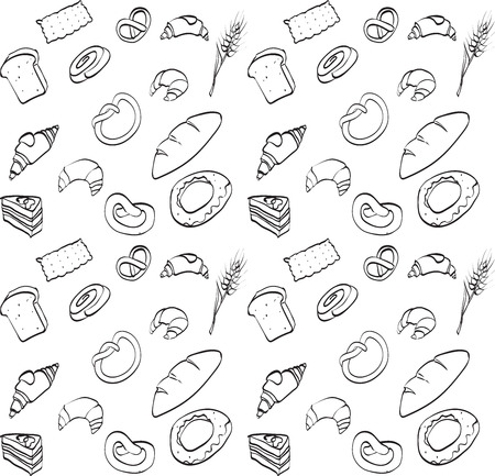 bagels: vector seamless texture, food, bread loaf brioche croissant, cake, baguettes, bagels, rye spike wheat Illustration