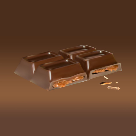 cinnamon: chocolate bar cinnamon inside stuffing, icon, isolated vector object, almond truffle chocolate