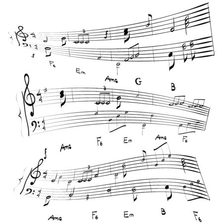 Music notes background music stave illustration vector.