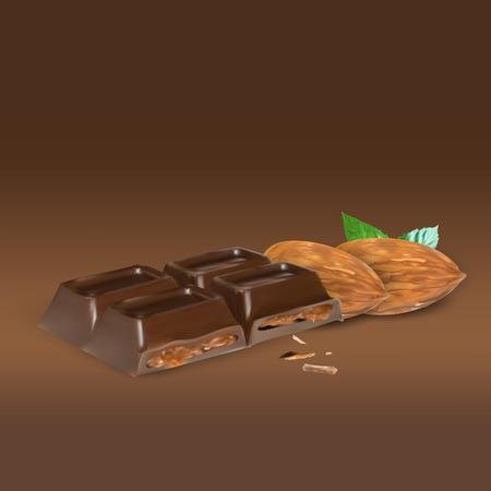 truffle: chocolate bar cinnamon inside stuffing, icon, isolated vector object, almond truffle chocolate