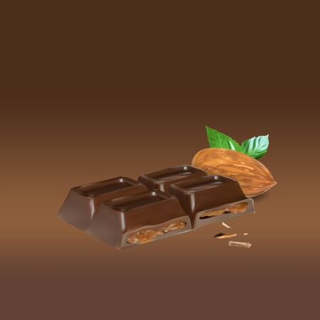 stuffing: chocolate bar cinnamon inside stuffing, icon, isolated vector object, almond truffle chocolate