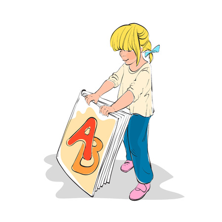 childrens book: Girl holding a book study of the letters ABC book, vector illustration, character. childrens book reading Illustration