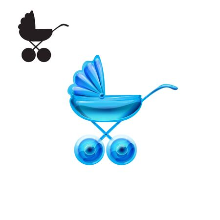 glossy icon: stroller glossy icon vector