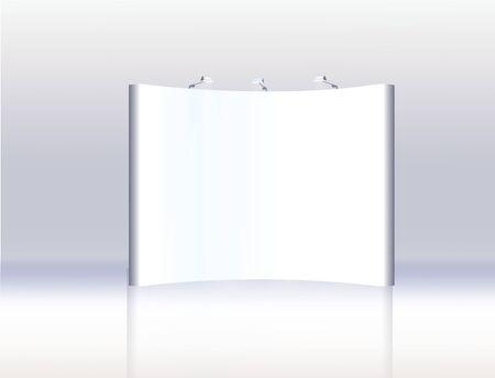 Fachmessestand, Messerundstand, 3D-Visualisierung der Ausstellungsanlagen, eine Reihe von Ständen, Werbeflächen auf einem weißen Hintergrund, mit Platz für Text-Anzeigen, Vektor Vektorgrafik