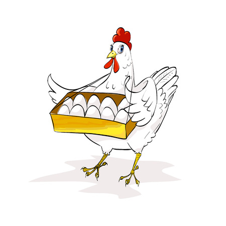 feathery: chicken holding a tray of eggs, eggs, poultry, agriculture, vector illustration