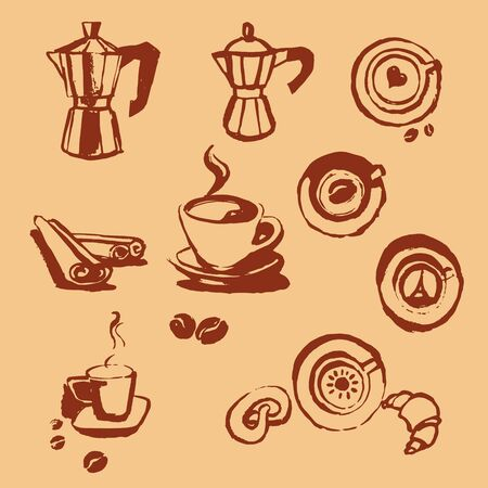 turk: Turk coffee cup of coffee with coffee beans donut, cinnamon stick, vector, geyser coffee, cocoa Illustration