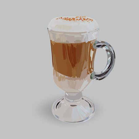 frothy: tall glass cup of cappuccino with whipped cream made layers, isolated illustrations, vector latte Illustration