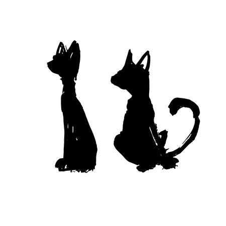 family playing: wall stickers funny silhouettes, vector, pattern interior cat