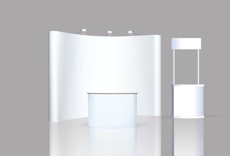Fachmessestand, Messerundstand, 3D-Visualisierung der Ausstellungsanlagen, eine Reihe von Ständen, Werbeflächen auf einem weißen Hintergrund, mit Platz für Text-Anzeigen, Vektor