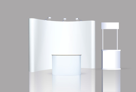 exhibition stand: Trade exhibition stand, Exhibition Stand round, 3D rendering visualization of exhibition equipment, a set of stands, Advertising space on a white background, with space for text ads, vector