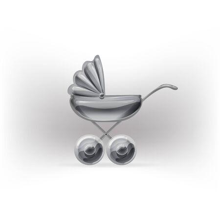 stroller: stroller glossy icon vector