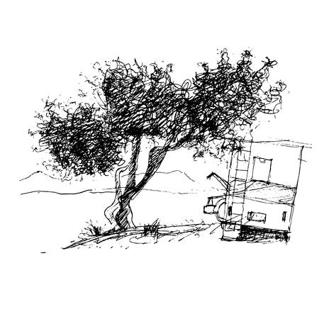 deciduous tree: deciduous tree, graphic design sketch pen ink