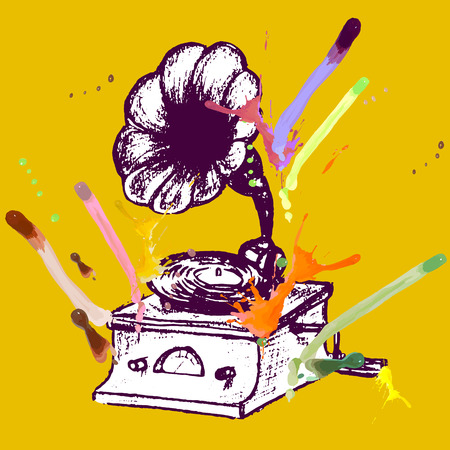 playback: gramophone old vintage, vector