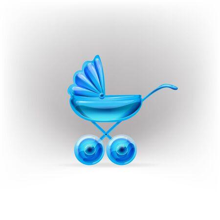 nursing mother: stroller glossy icon vector