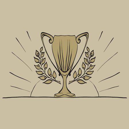 cup, gold laurel wreath vector award